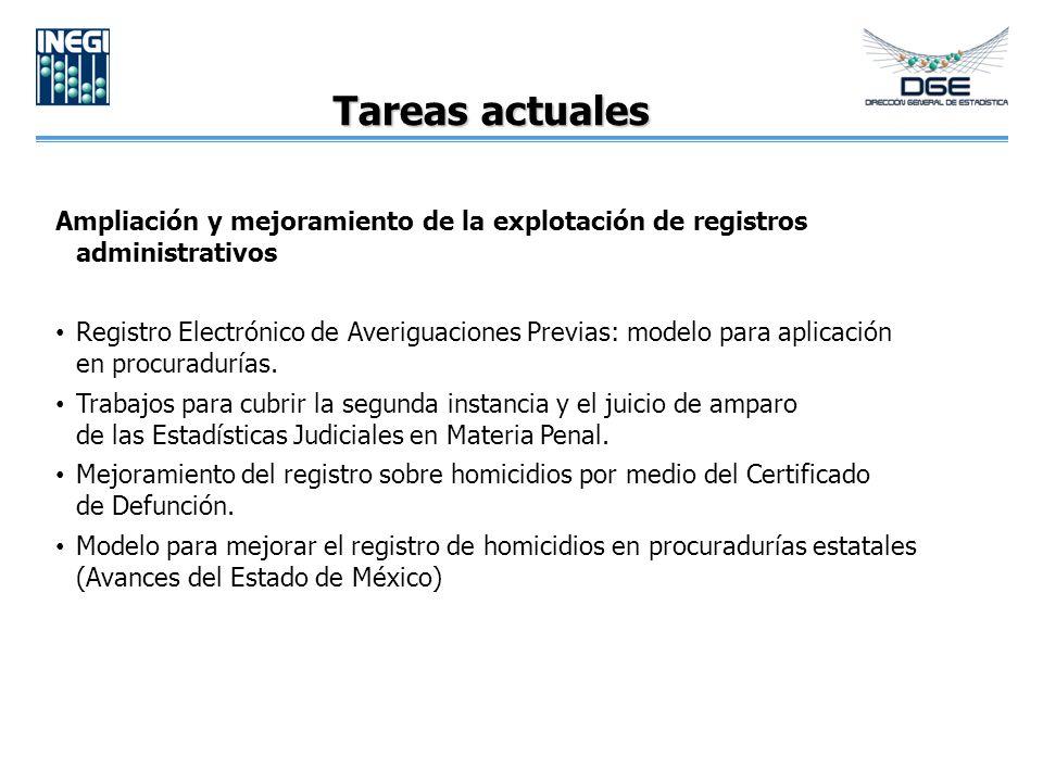 Tareas actuales Ampliación y mejoramiento de la explotación de registros administrativos.