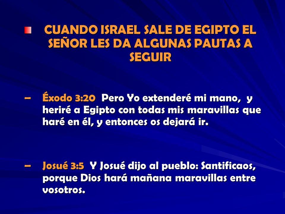 CUANDO ISRAEL SALE DE EGIPTO EL SEÑOR LES DA ALGUNAS PAUTAS A SEGUIR