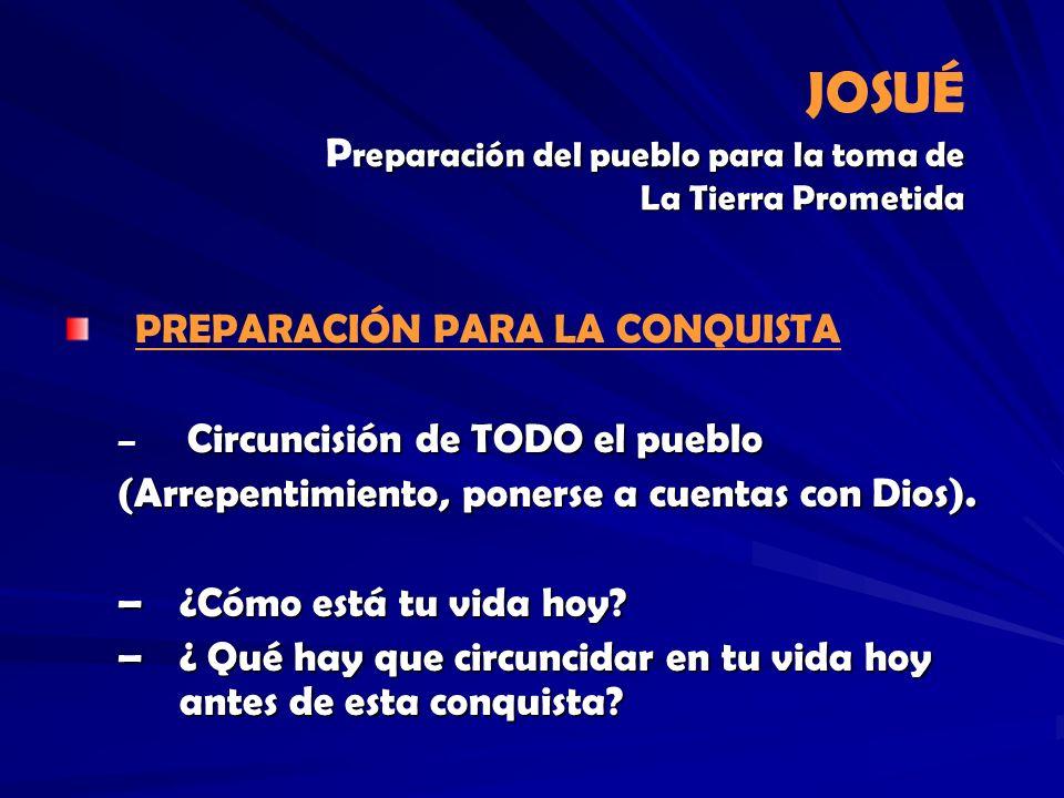 JOSUÉ Preparación del pueblo para la toma de La Tierra Prometida