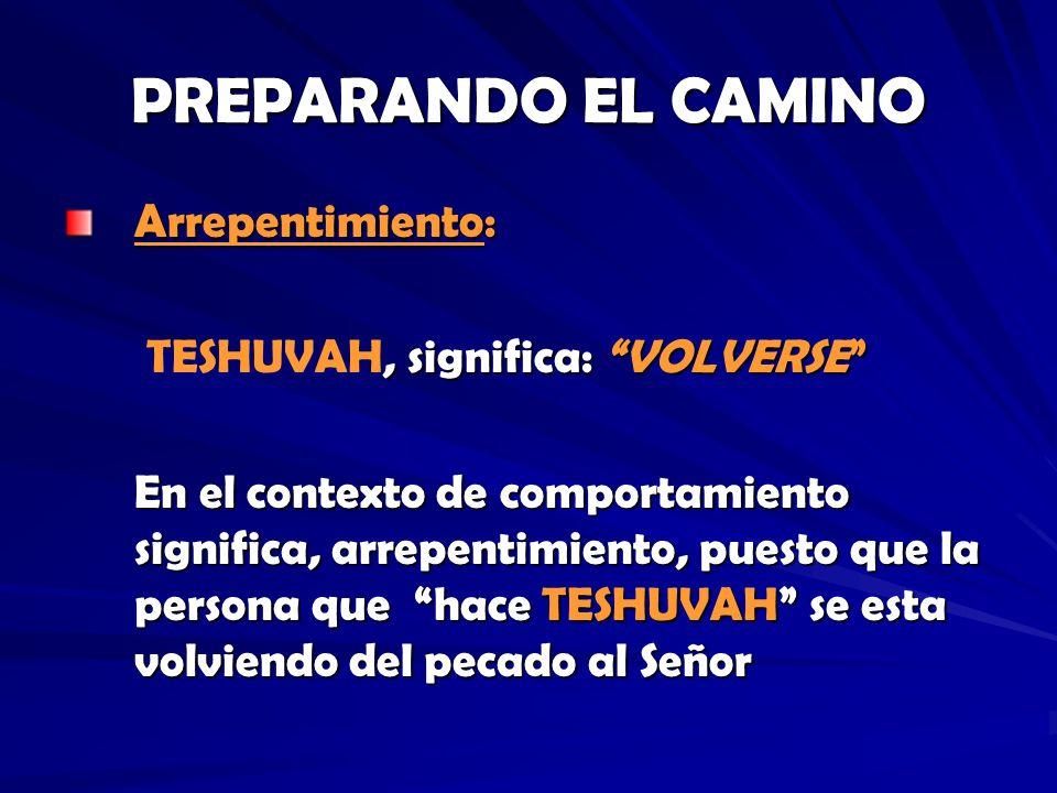 PREPARANDO EL CAMINO Arrepentimiento: TESHUVAH, significa: VOLVERSE