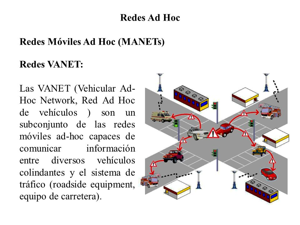 Redes Ad Hoc Redes Móviles Ad Hoc (MANETs) Redes VANET: