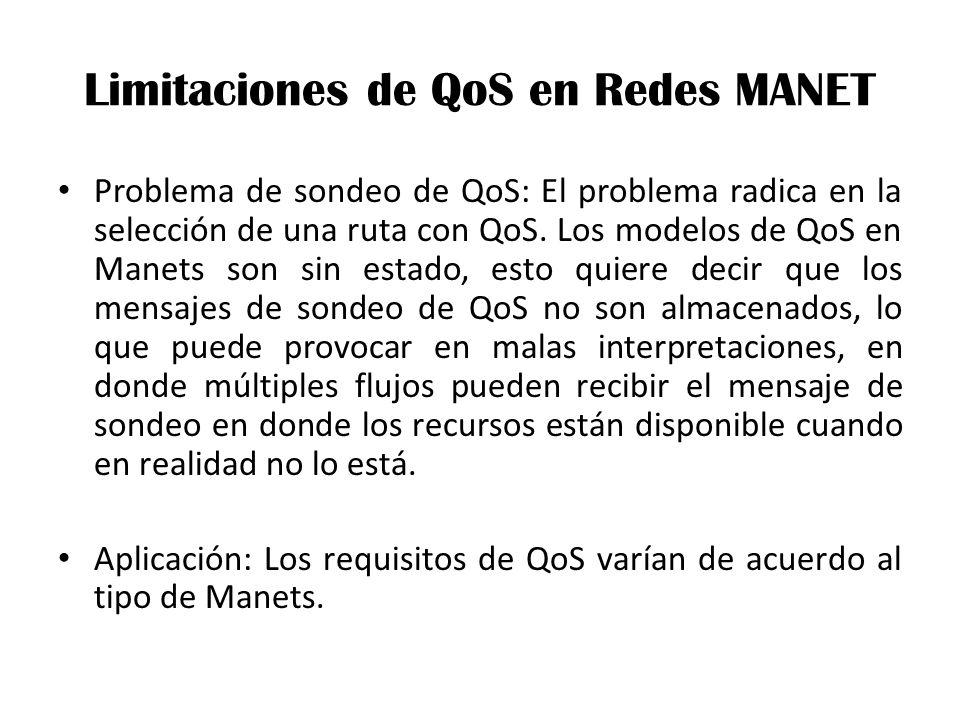 Limitaciones de QoS en Redes MANET