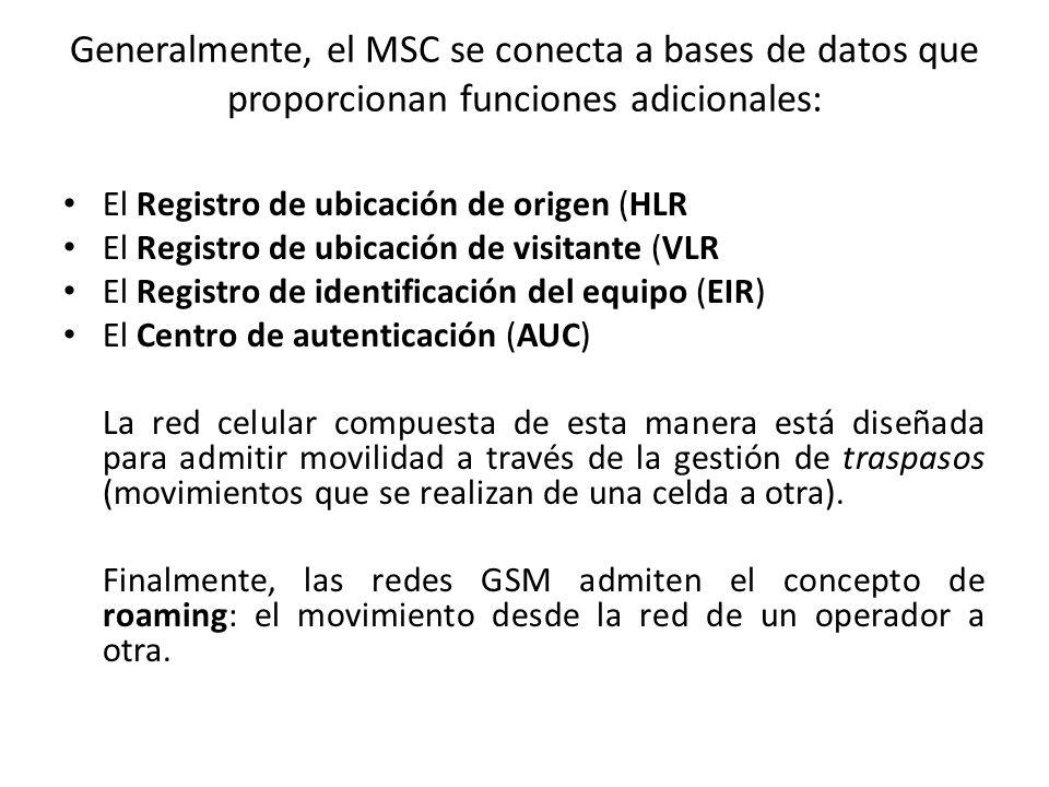 Generalmente, el MSC se conecta a bases de datos que proporcionan funciones adicionales: