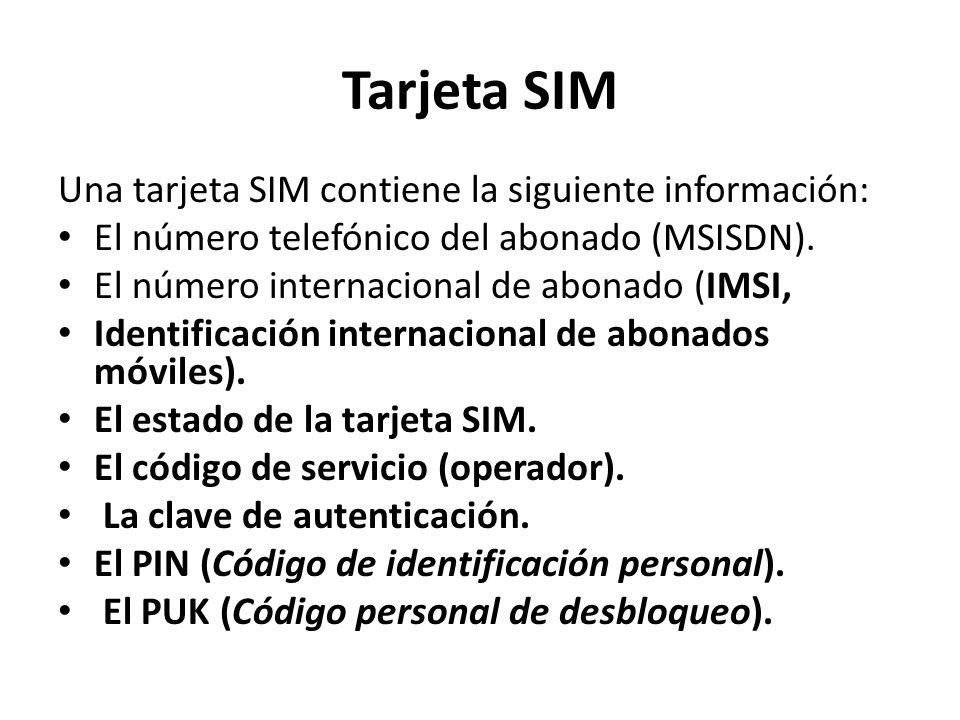 Tarjeta SIM Una tarjeta SIM contiene la siguiente información:
