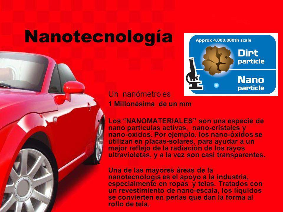 Nanotecnología Un nanómetro es 1 Millonésima de un mm