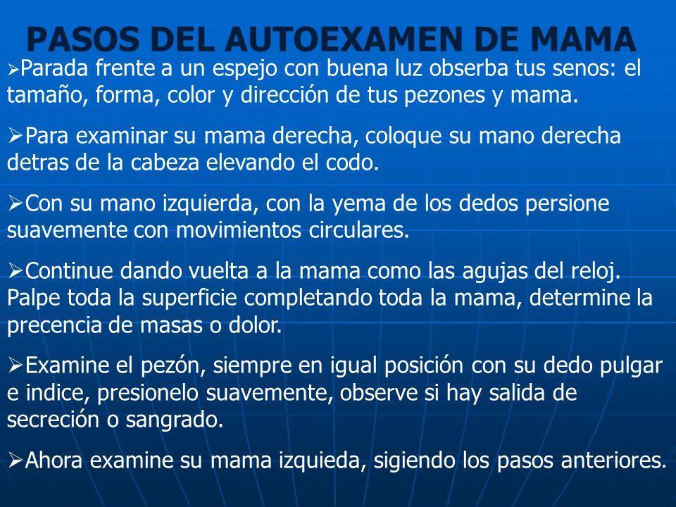 PASOS DEL AUTOEXAMEN DE MAMA