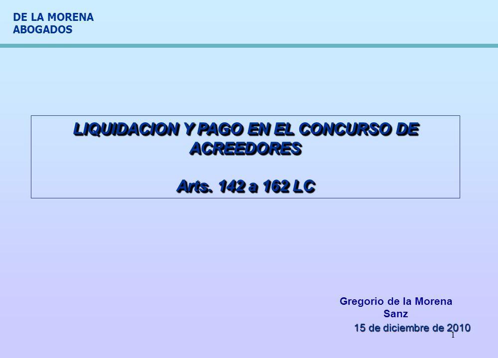 LIQUIDACION Y PAGO EN EL CONCURSO DE ACREEDORES Arts. 142 a 162 LC