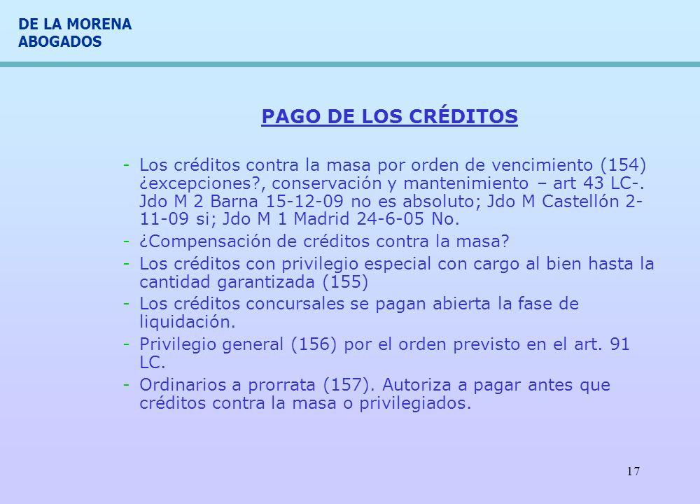 PAGO DE LOS CRÉDITOS