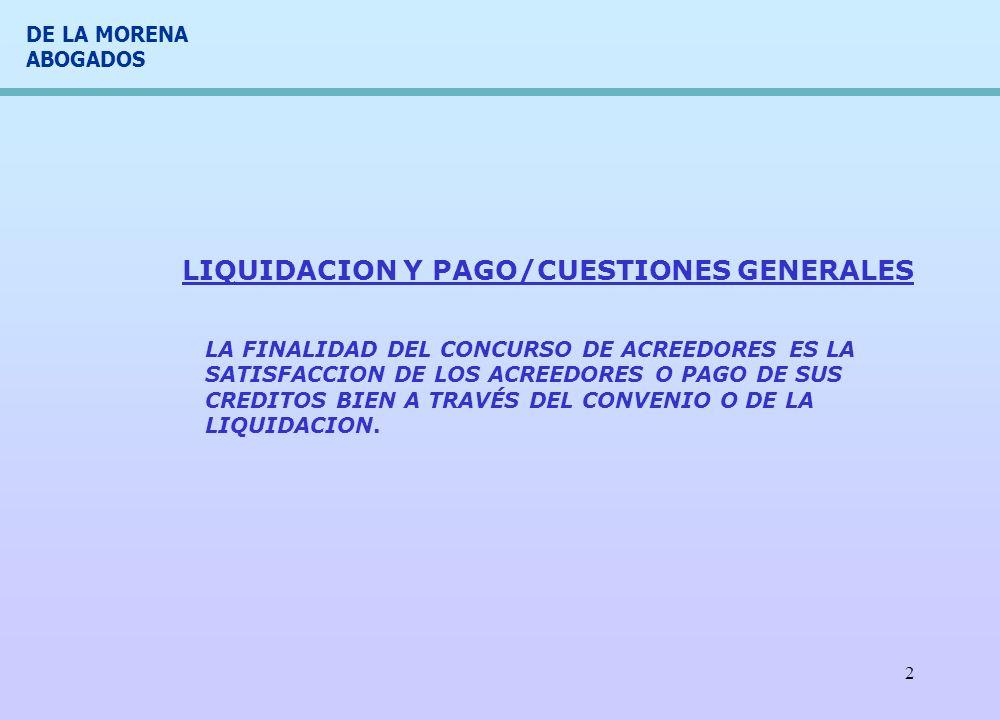 LIQUIDACION Y PAGO/CUESTIONES GENERALES