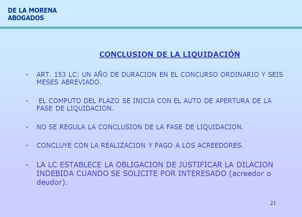 CONCLUSION DE LA LIQUIDACIÓN