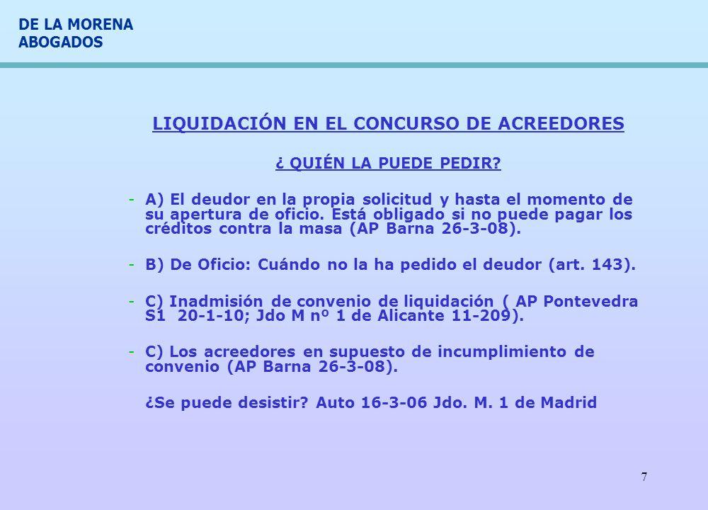 LIQUIDACIÓN EN EL CONCURSO DE ACREEDORES