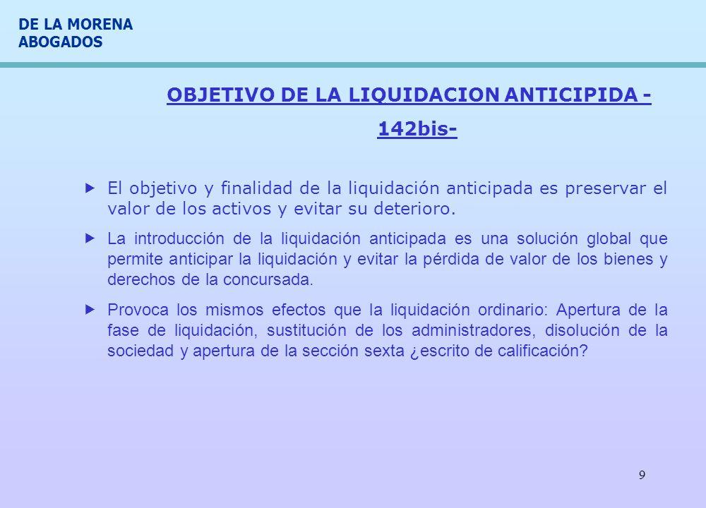 OBJETIVO DE LA LIQUIDACION ANTICIPIDA -142bis-