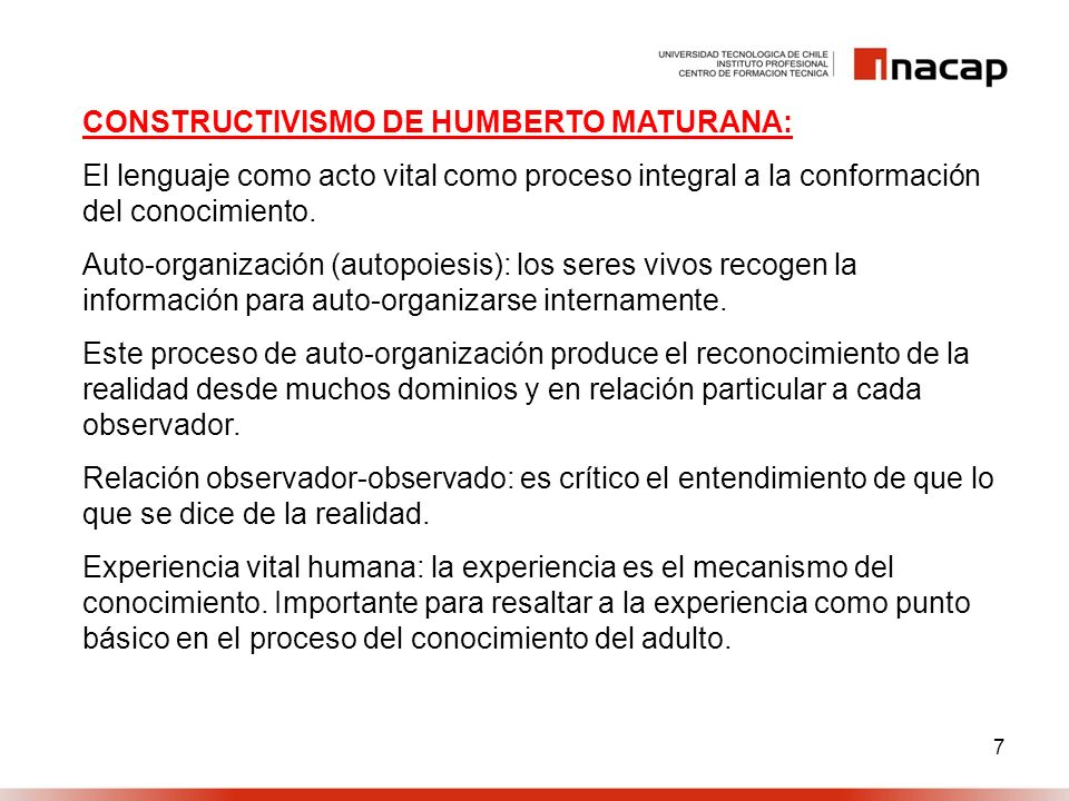 CONSTRUCTIVISMO DE HUMBERTO MATURANA: