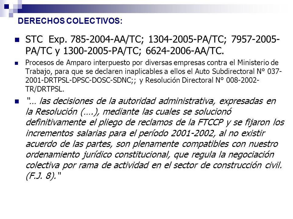DERECHOS COLECTIVOS: STC Exp. 785-2004-AA/TC; 1304-2005-PA/TC; 7957-2005-PA/TC y 1300-2005-PA/TC; 6624-2006-AA/TC.