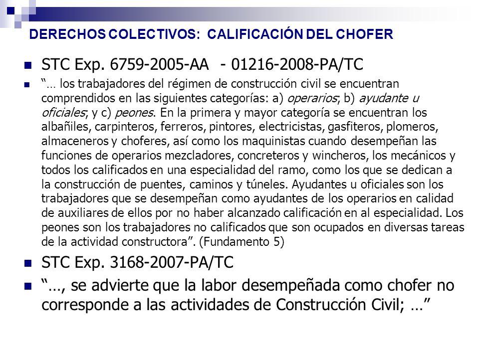 DERECHOS COLECTIVOS: CALIFICACIÓN DEL CHOFER