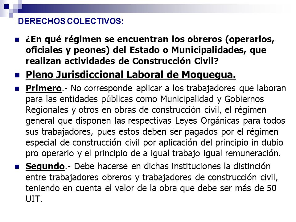 Pleno Jurisdiccional Laboral de Moquegua.