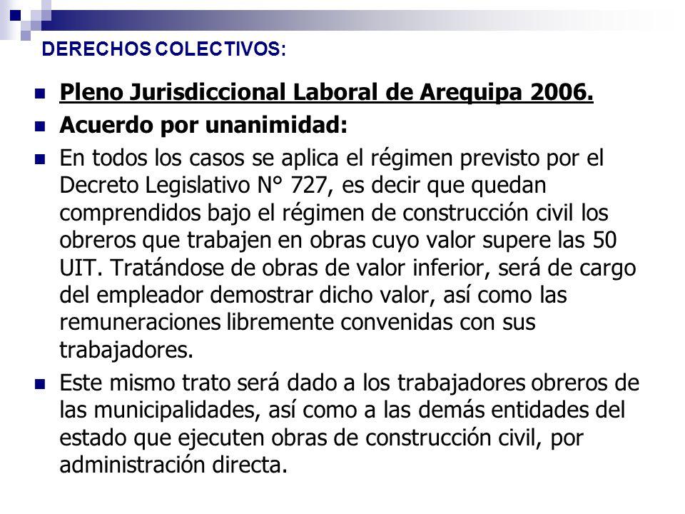Pleno Jurisdiccional Laboral de Arequipa 2006. Acuerdo por unanimidad: