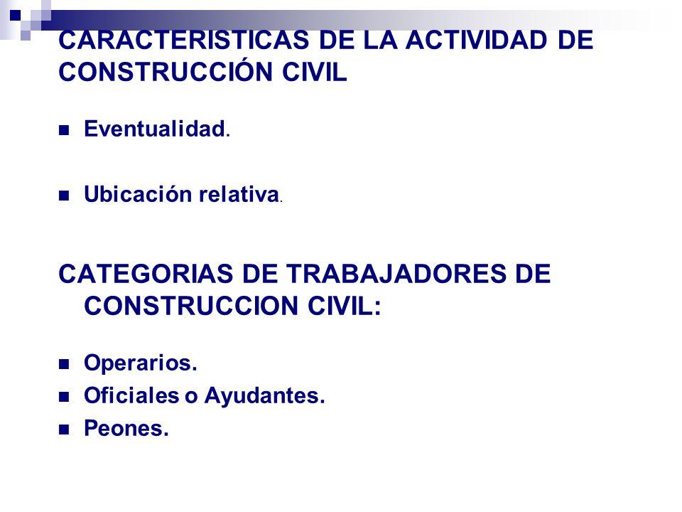 CARACTERISTICAS DE LA ACTIVIDAD DE CONSTRUCCIÓN CIVIL