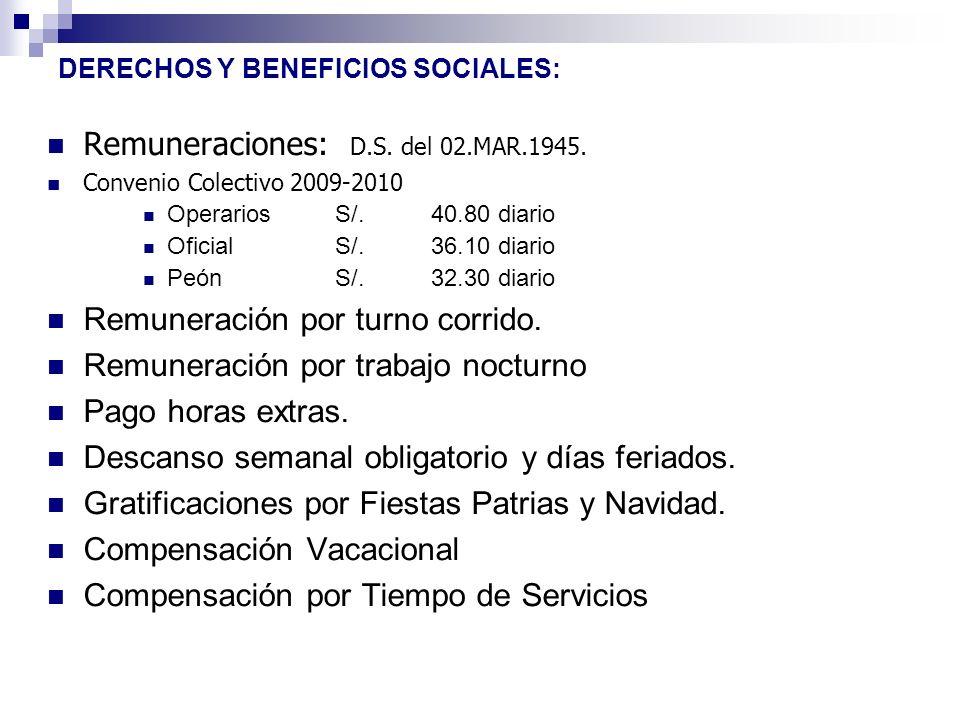 DERECHOS Y BENEFICIOS SOCIALES: