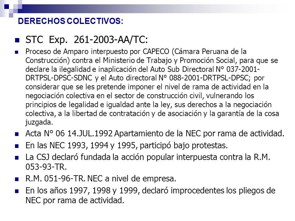 STC Exp. 261-2003-AA/TC: DERECHOS COLECTIVOS: