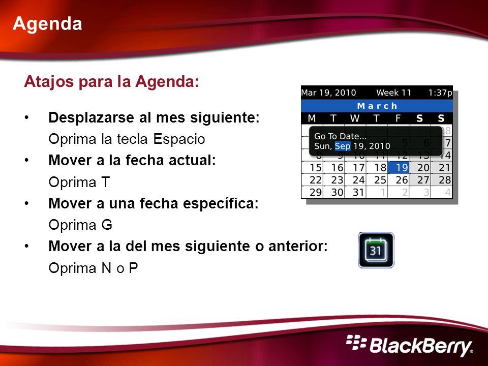 Agenda Atajos para la Agenda: Desplazarse al mes siguiente:
