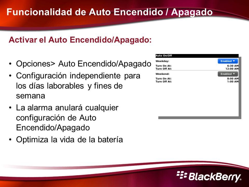 Funcionalidad de Auto Encendido / Apagado