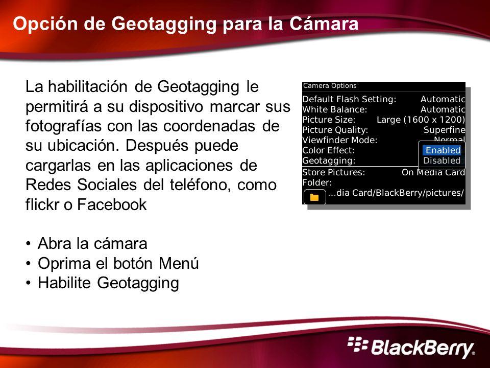 Opción de Geotagging para la Cámara