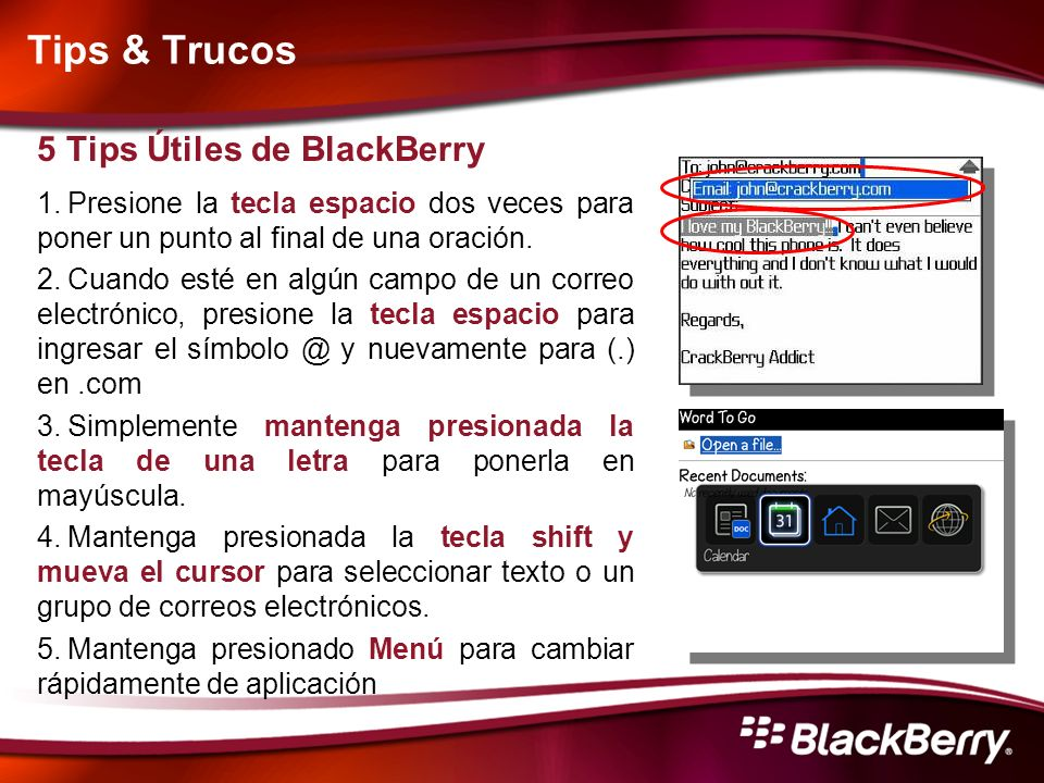 Tips & Trucos 5 Tips Útiles de BlackBerry