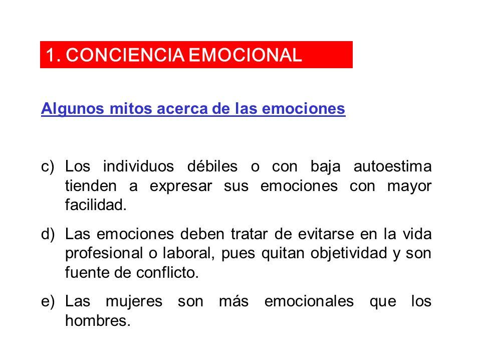 1. CONCIENCIA EMOCIONAL Algunos mitos acerca de las emociones
