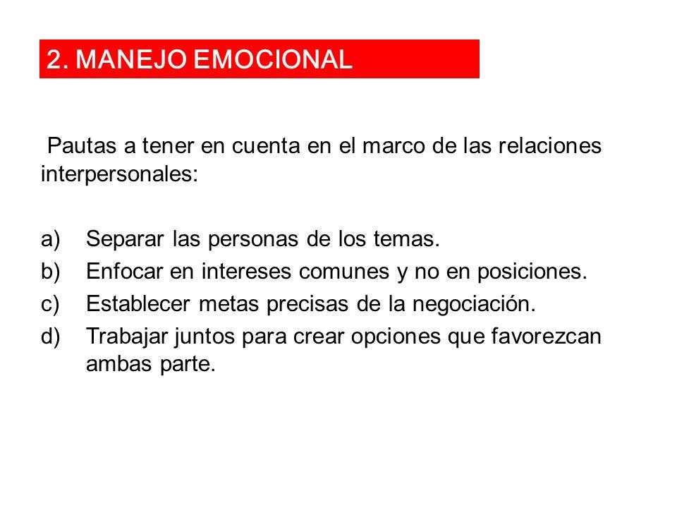 2. MANEJO EMOCIONAL Pautas a tener en cuenta en el marco de las relaciones interpersonales: Separar las personas de los temas.