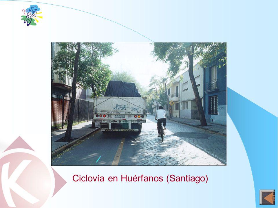 Ciclovía en Huérfanos (Santiago)