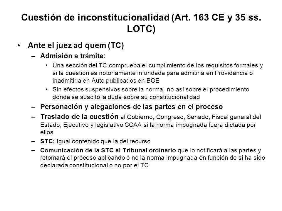 Cuestión de inconstitucionalidad (Art. 163 CE y 35 ss. LOTC)