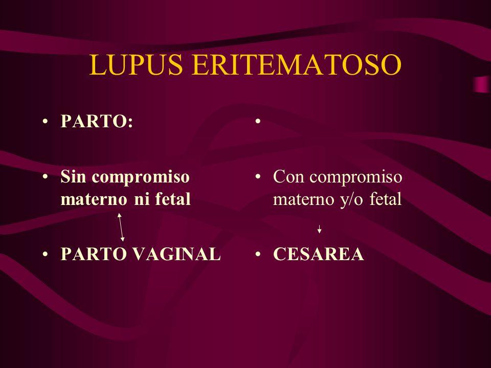 LUPUS ERITEMATOSO PARTO: Sin compromiso materno ni fetal PARTO VAGINAL