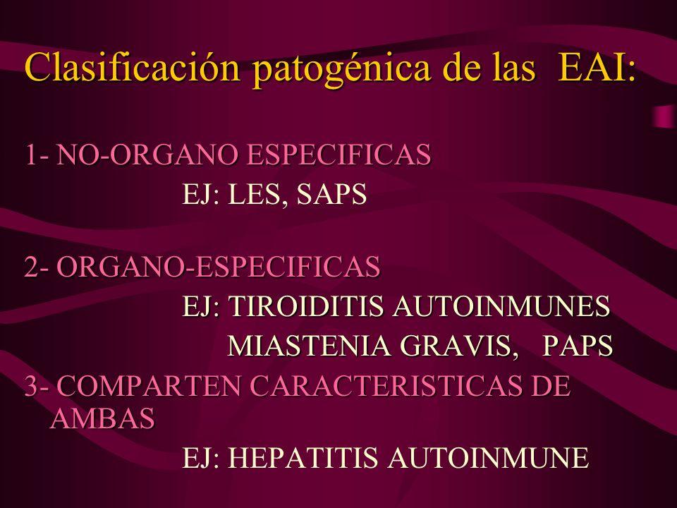 Clasificación patogénica de las EAI: