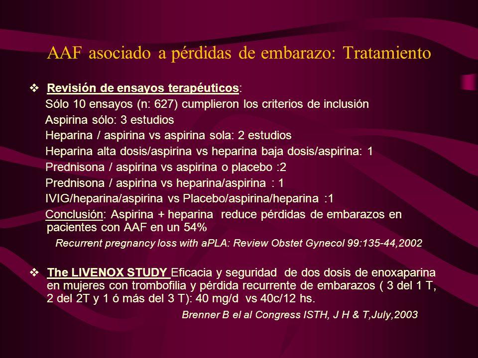 AAF asociado a pérdidas de embarazo: Tratamiento
