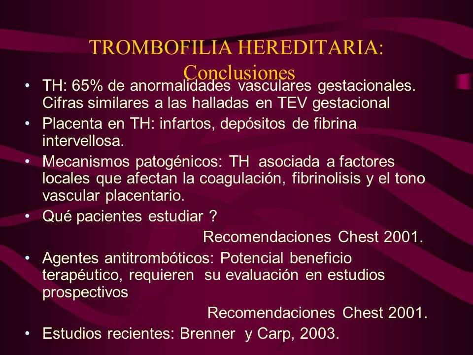 TROMBOFILIA HEREDITARIA: Conclusiones