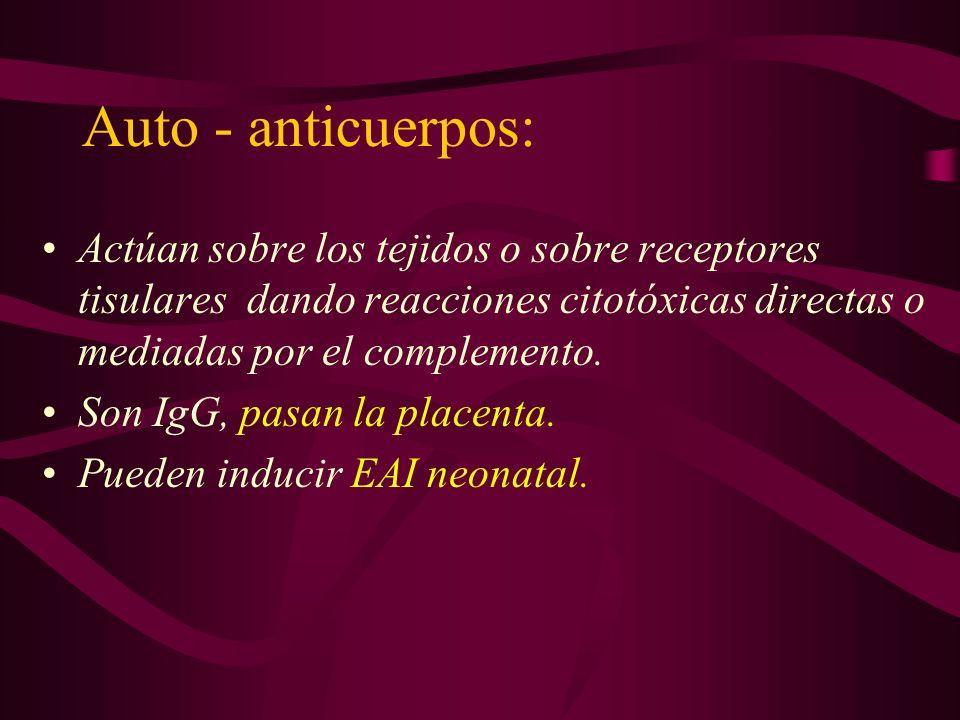 Auto - anticuerpos: Actúan sobre los tejidos o sobre receptores tisulares dando reacciones citotóxicas directas o mediadas por el complemento.