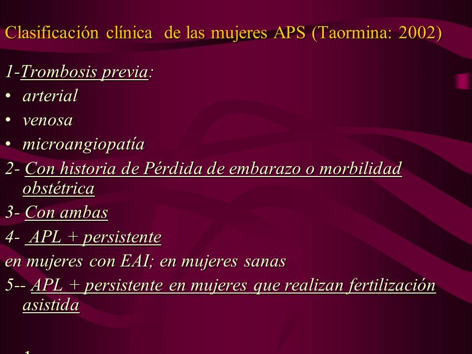 Clasificación clínica de las mujeres APS (Taormina: 2002)