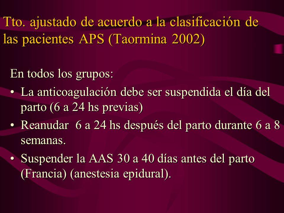 Tto. ajustado de acuerdo a la clasificación de las pacientes APS (Taormina 2002)