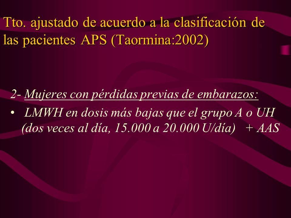 Tto. ajustado de acuerdo a la clasificación de las pacientes APS (Taormina:2002)