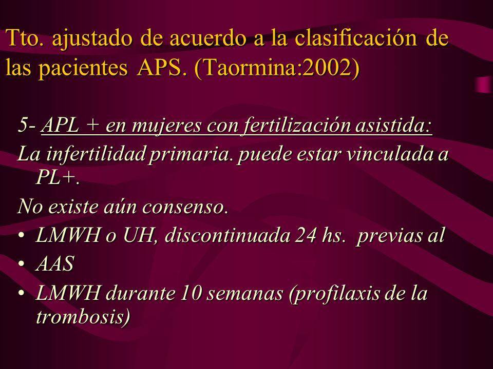 Tto. ajustado de acuerdo a la clasificación de las pacientes APS