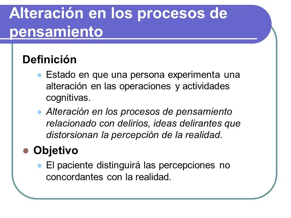 Alteración en los procesos de pensamiento
