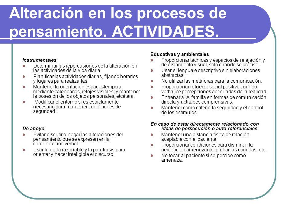 Alteración en los procesos de pensamiento. ACTIVIDADES.