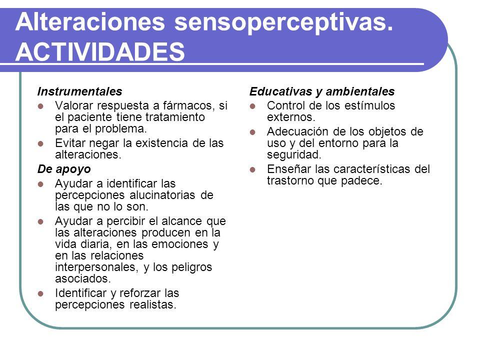 Alteraciones sensoperceptivas. ACTIVIDADES