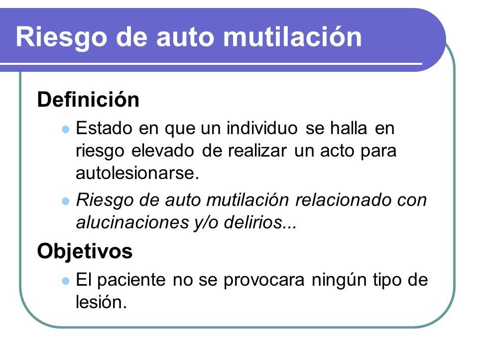 Riesgo de auto mutilación