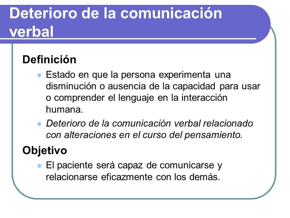Deterioro de la comunicación verbal