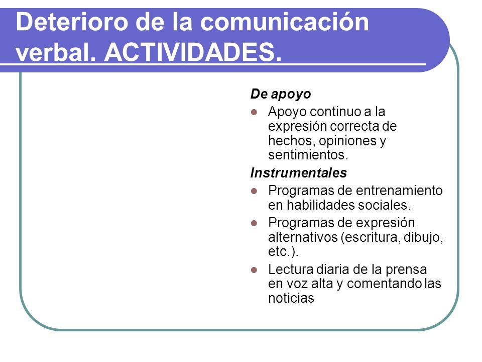 Deterioro de la comunicación verbal. ACTIVIDADES.