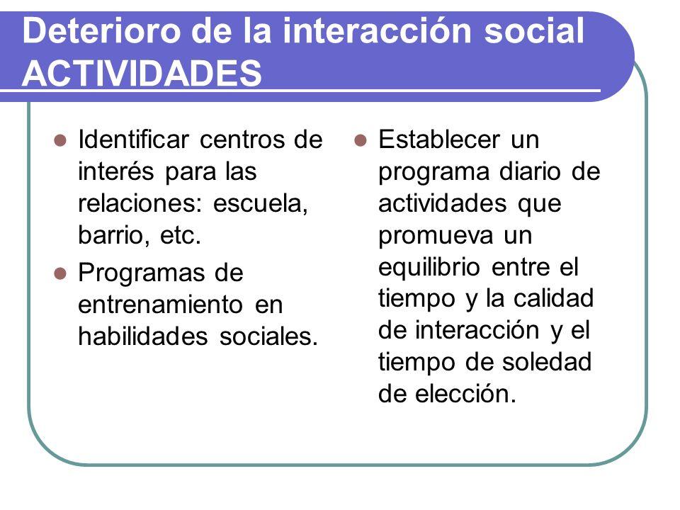 Deterioro de la interacción social ACTIVIDADES
