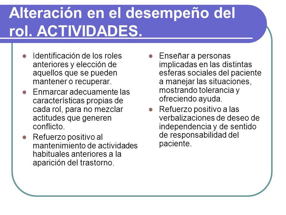 Alteración en el desempeño del rol. ACTIVIDADES.