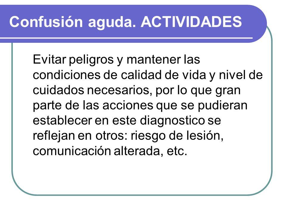 Confusión aguda. ACTIVIDADES